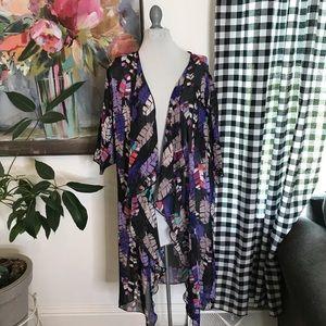LuLaRoe Shirley Kimono Boho Purple Feather Med 12K